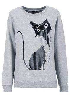 Jetzt anschauen: Cats in Paris: cooles Sweatshirt mit Katzendruck, lässige Loose-Fit Passform.