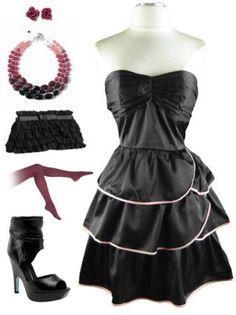 Vtg Style BLACK Strapless Tiered Skirt SALSA Sun Dress #PrivateManufacturer #Tiered #Cocktail