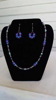 Purple Flower Garden Necklace and Earring set by OneofAKindDezignz