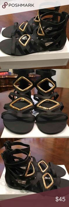 Steve Madden black gladiator sandal size 9.5 Steve Madden size 9.5. Black leather with gold hardware and zipper back. Super comfortable. Good used condition. Only used a handful of times. Purchased from Steve Madden. Steve Madden Shoes Sandals