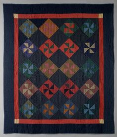 Quilt, Pinwheel or Fly pattern Amish maker Maker: Y. Date: 1930 Geography: Midwest, Indiana, United States Culture: American Medium: Wool and cotton Amische Quilts, Patchwork Quilt, Mini Quilts, Sampler Quilts, Hexagon Quilt, Antique Quilts, Vintage Quilts, Vintage Sewing, Amish Quilt Patterns