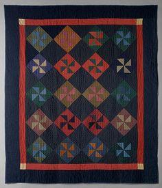 Quilt, Pinwheel or Fly pattern.. Maker: Amish maker. Marker: Y.L. date: 1930