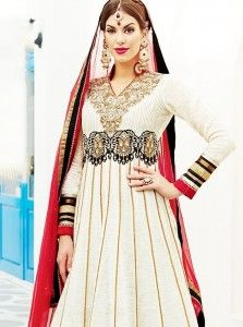 Fashionistic Off White Embroidery Work Banarasi And Georgette Anarkali Suit