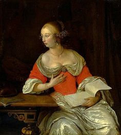 Eglon Van der Neer - Noble Lady with Lute and Sheets of Music, 1667