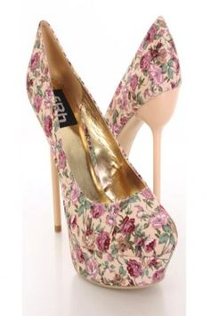 £32.00  Shoehorne Amber-07 - Womens Beige & Pink Ditzy Flower Stiletto High Heeled Platform Court Shoes Pumps - Avail in Ladies Size 3-8 UK: Amazon.co.uk: Shoes & Accessories