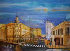 Victory Street, Bucharest,Romania. Watercolor by Gabriela Calinoiu.  www.picturipeisaje.wordpress.com