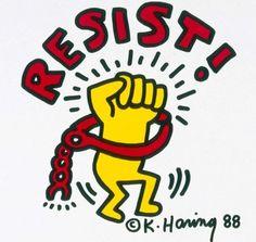 """RESIST!,"" Refuse & Resist! flyer, Keith Haring (May 4, 1958 - February 16, 1990), 1988. c/o @keithharingofficial. #lgbthistory #HavePrideInHistory #KeithHaring #Resist #Night"