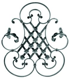"BUY $200 GET 10% OFF - DIY Wall Decor 26 This design of this piece is simple and elegant - open, with scrolled edges and a lattice work center. It is lightweight although it is made of hand forged steel  It would bring a light and airy atmosphere to any room. H: 25-3/16""   W: 27-3/4""     Weight: 15.37 lbs."