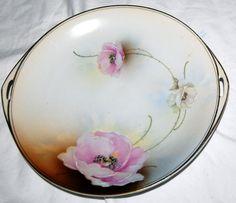 Antique Royal Rudolstadt Prussia Beyer Plate Painted Porcelain Pink Floral 1800s #RoyalRudolstadt