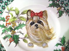 Hand Painted Yorkshire Terrier Yorkie Christmas Plate by DanaTebbs Terrier Breeds, Dog Breeds, Yorkshire Terrier Puppies, Purebred Dogs, Losing A Dog, Beautiful Drawings, Rottweiler, Dog Owners, Yorkie
