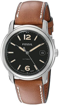 Fossil Swiss Made Automatic Leather Watch Tan * Be sure to check out this awesome product. Fossil Watches For Men, Omega Watch, Men's Accessories, Stuff To Buy, Awesome, Check, Leather, Fashion, Moda