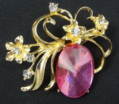 Flower Brooch - F0094 - Gold Tone Pink