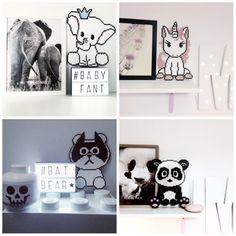Perlesjov med GO'morgen Danmark! Hama Beads, Perler Bead Art, Beaded Animals, C2c, Diy For Kids, Baby Room, Pixie, Diy And Crafts, Cross Stitch