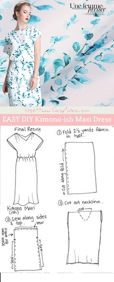 DIY Maxi Dress tutorial using lightweight silk fabrics Szabásminták Ingyen 0f8aea1311