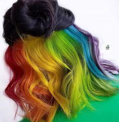 29 Colorful Rainbow Hair Ideas Trending in can find Rainbow hair and more on our Colorful Rainbow Hair Ideas Trending in Hidden Hair Color, Cool Hair Color, Black Hair With Color, Hair Colour, Peekaboo Hair Colors, Hidden Rainbow Hair, Dyed Hair Pastel, Hair Shades, Dyed Hair