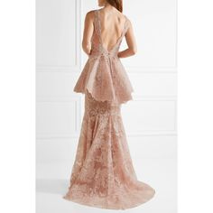 Marchesa Tulle-paneled guipure lace peplum gown ($5,095) ❤ liked on Polyvore featuring dresses, gowns, lace peplum dresses, white scalloped dress, white evening gowns, tulle dress and plunging-neckline dress
