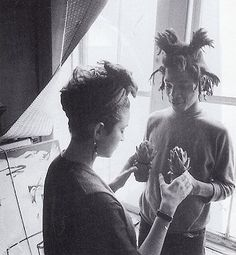 The couple Jean-Michel Basquiat and Madonna doing anything and took pictures during the afternoons of anonymity. Downtown. New York
