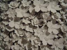 Battleship (detail of bone china flowers) by Stephen Dixon