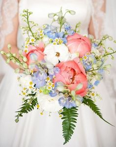 Peony and delphinium bouquet...with the periwinkle bridesmaids dresses