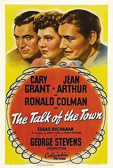 1942: Jean Arthur, Cary Grant and Ronald Coleman in The Talk of the Town