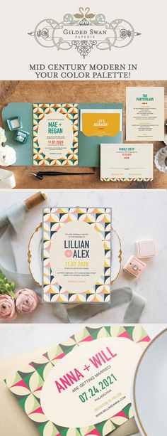 Announce your day with a colorful and bold mid-century modern and Eames - inspired wedding stationery suite. These invitations can accommodate your custom wording and wedding color palette. Full wedding suites, save the dates and Vintage Wedding Stationery, Art Deco Wedding Invitations, Retro Color Palette, Color Palettes, Graphic Design Invitation, Mid Century Modern Colors, Modern Save The Dates, Number, Ad Design