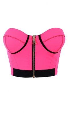 'Darcey' Neon Pink Scuba Crop Top - shop: http://www.celebboutique.com/darcey-neon-pink-scuba-crop-top-en.html