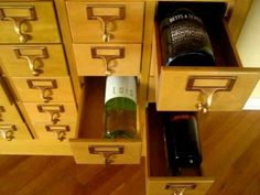 Vintage Library Card Catalogs as Wine Storage...BRILLIANT!