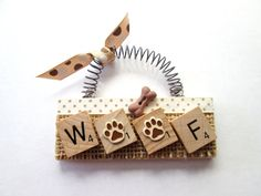 Woof Dog Paws Bone Scrabble Tile Ornament by ScrabbleTileOrnament