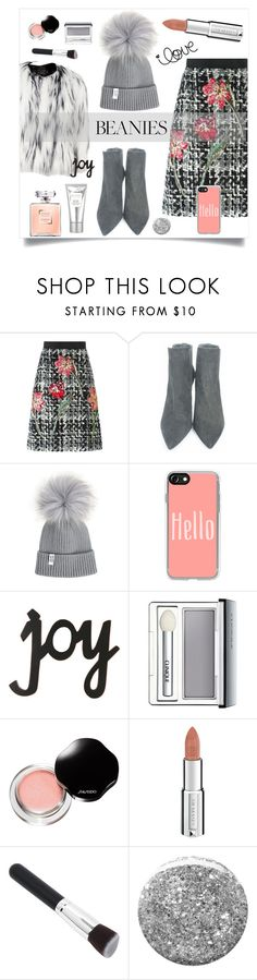 """Hat Head: Pom Pom Beanies"" by alinepinkskirt ❤ liked on Polyvore featuring River Island, Dolce&Gabbana, Stuart Weitzman, Casetify, Clinique, Shiseido, Givenchy, Burberry and Laura Mercier"