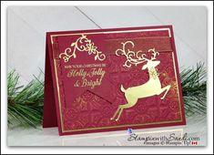 Dashing Deer in Merry Merlot - Sandi Maciver - Cardmaking and papercrafting made easy Christmas Cards 2018, Stamped Christmas Cards, Beautiful Christmas Cards, Merry Christmas Card, Stampin Up Christmas, Christmas Deer, Xmas Cards, Handmade Christmas, Holiday Cards