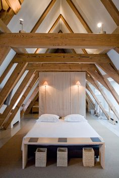 A funky attic suite at The Dylan, Amsterdam shows you just how cool exposed beams can be! @dwelling in the house