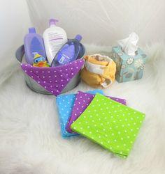 Cloth Wipes, Washcloths, Burp Cloths, Handkerchiefs in Polka Dots Purple, Green, Blue Set of 12 by HeavenBoundHCA, $12.00 USD