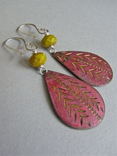 The Earth Fair earrings - vintage incised Indian brass charms in brick red are combined with chartreuse Czech glass beads - finished with my signature ear wires in sterling.