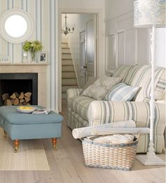 Laura Ashley coastal living room - love the stripes and open airy feeling in this space!!