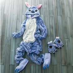 b1dc80771d Blue Stitch Unisex Adult Animal Onesiee Kigurumi Pajamas Cosplay Sleepwear  S-XL Adult