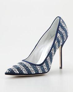 Crystal Striped Pointed-Toe Pump High Heels #crystal #heels www.loveitsomuch.com