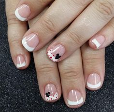 Are you looking for cute disney nail art designs Nail designs like cute Mickey Mouse, beautiful Cinderella, and icy Frozen will surely brighten up your day just by looking at your nails! Minnie Mouse Nails, Mickey Mouse Nails, Cruise Nails, Vacation Nails, Disney Nail Designs, Nail Art Designs, French Nails, French Pedicure, Fun Nails