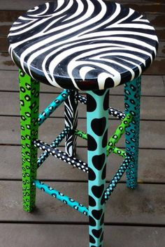 Painted Zebra stool