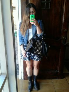 denim jacket, floral skirt, white tank, combat boots, perfect purse