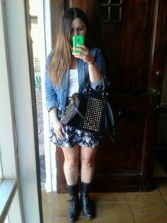 denim jacket, floral skirt, white tank, combat boots, perfect purse