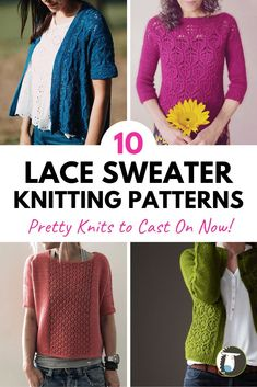 10 Lace Sweater Knitting Patterns including cardigans and pullovers as well as short and long sleeves Lace Tee, Lace Sweater, Sweater Knitting Patterns, Lace Knitting, Dk Weight Yarn, Knit In The Round, Knitting Projects, Knitting Ideas, Knit Picks