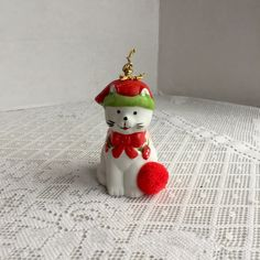 Vintage Ceramic Bell / Red and White Cat Figurine / Vintage Porcelain Cat Christmas Tree Ornament by vintagepoetic on Etsy