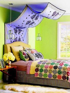 <3 I'm in love with this idea. I want to do this in my room. I wounder if it would look as nice without a headboard?