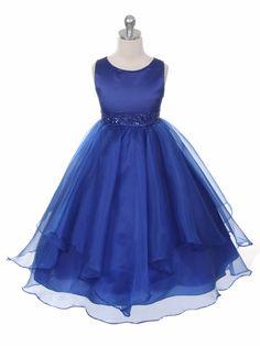 Royal Blue Satin & Organza Layered Dress