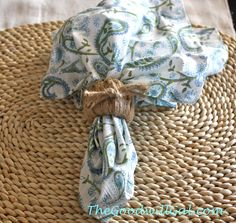 Wrap smooth napkins rings, $2 for 6 from Goodwill, with jute for a #Pottery Barn inspired #coastal look.  #Summer #Goodwill #nautical #natural