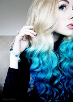 Blue dip dyed ombre hair