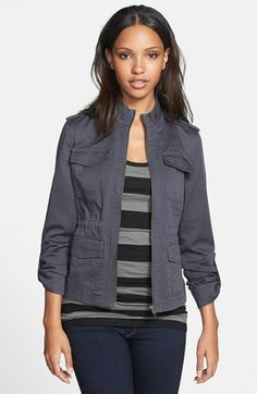 Caslon® Caslon Roll Sleeve Utility Jacket available at #Nordstrom