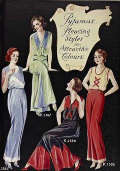 "Advertisement: 1933, ""Pyjamas. Pleasing styles in attractive colours."""