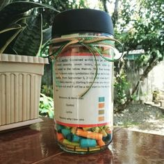 This is my own version of the jar notes. It contains 577 notes which constitutes the days my boyfriend and I have been together. It took me four days to finish this... And I'm 5 days early for our 19th monthsary. Haha. I got this idea here in Pinterest and I just created my own version.