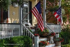 Old Glory on the front porch. From Front-Porch-Ideas-and-More.com  #porch #columns